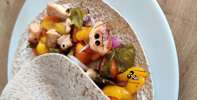 Wrap poulet aux légumes healthy